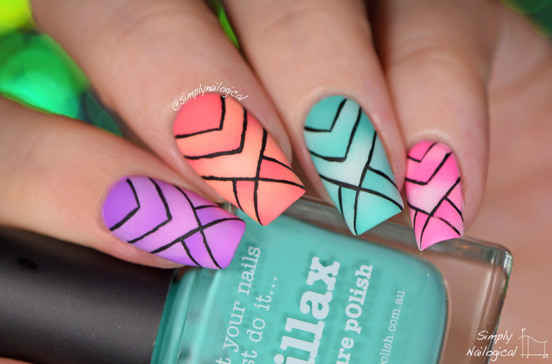 Over-complicated scaled reciprocal gradient patterns nail art by simplynailogical