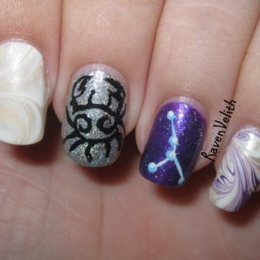 The Zodiacs: Cancer nail art by Lynni V.