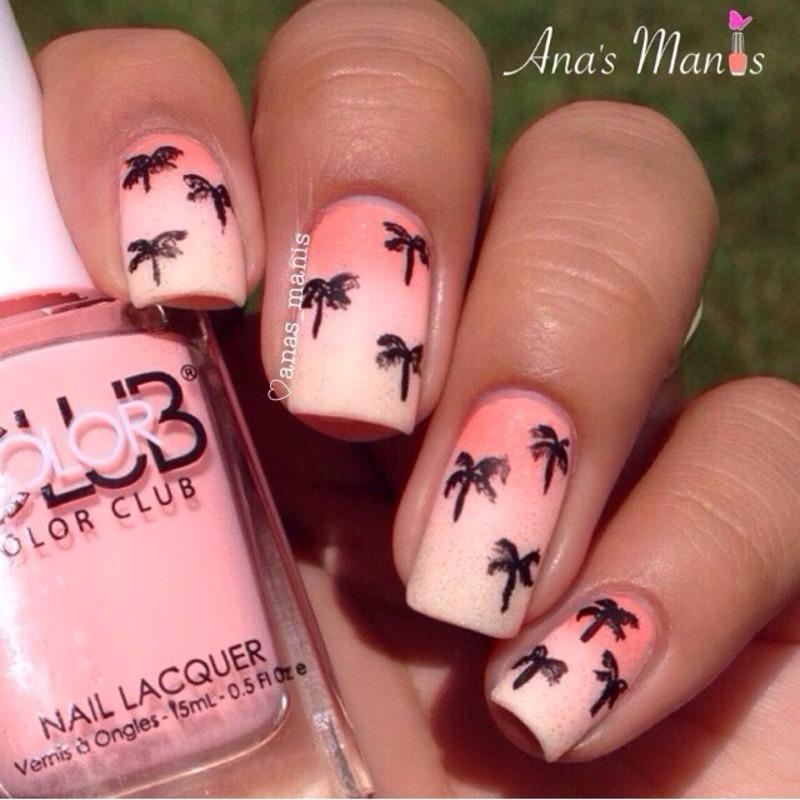 Palm tree print nail art by anas_manis