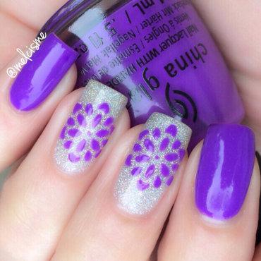 Purple Flowers nail art by Melissa
