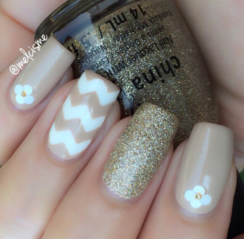 Neutral mix & match nail art by Melissa