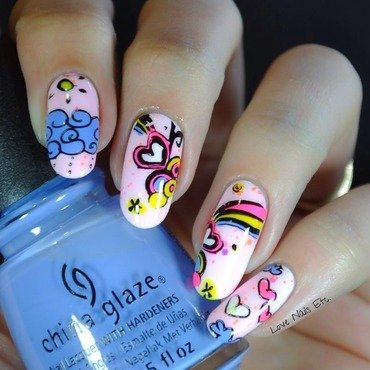 Doodles nail art by Love Nails Etc