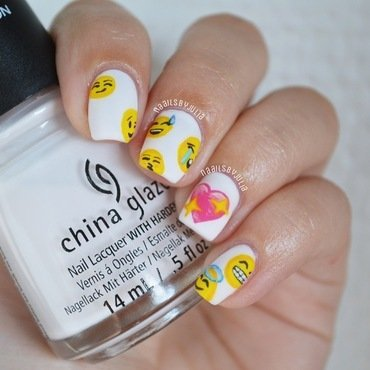 Emoji nails nail art by Julia