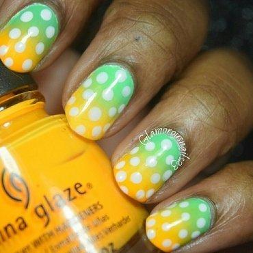 Gradient & Dots nail art by glamorousnails23