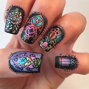 Stained glass nail art by Workoutqueen123