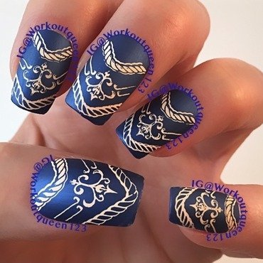 Cobalt and Peach nail art by Workoutqueen123