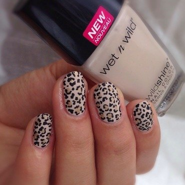 Tiny cheetah print  nail art by Massiel Pena