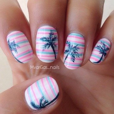 Stripes & palm trees  nail art by Massiel Pena