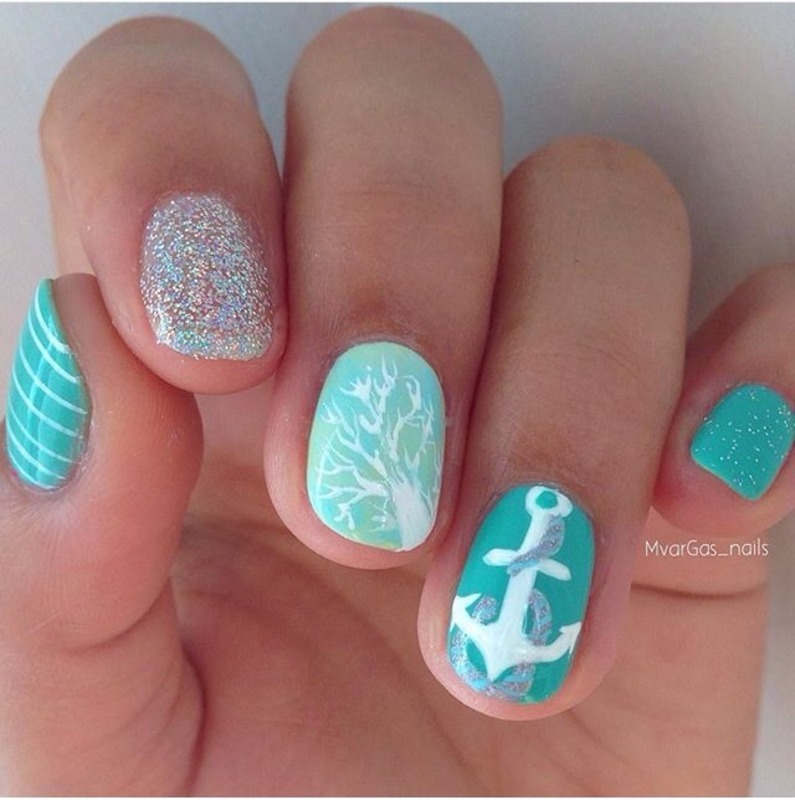 Nautical nails nail art by Massiel Pena