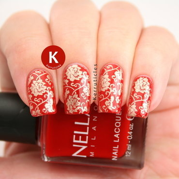 Red and gold Chinese pattern nail art by Claire Kerr