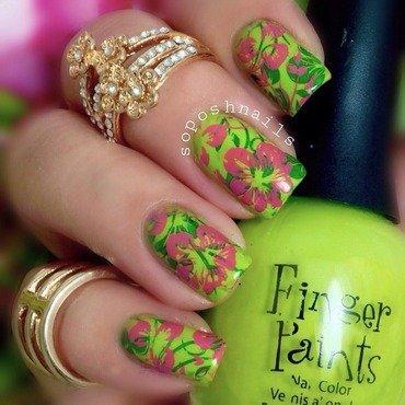 Pink Hibiscus nail art by Debbie