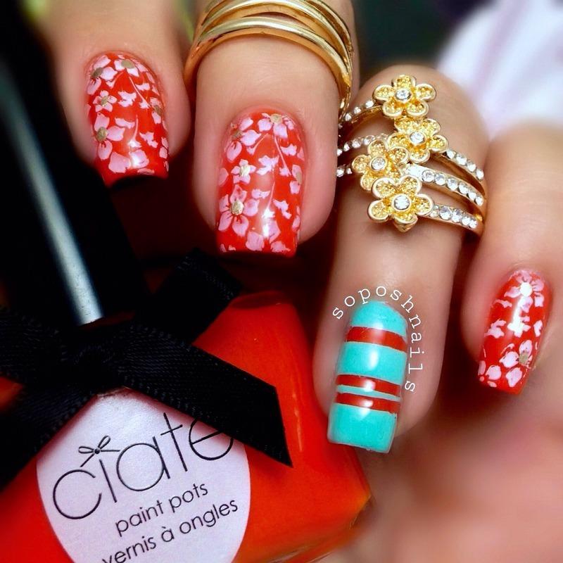 White Tropical Blooms nail art by Debbie