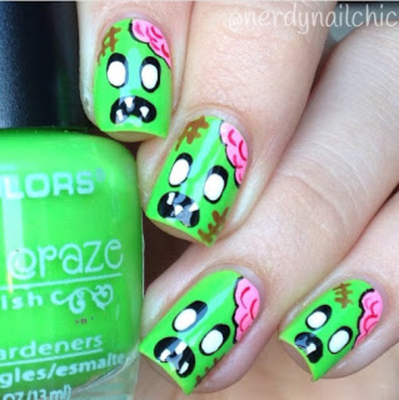 Cartoon Zombie Nails nail art by nerdynailchic - Cartoon Zombie Nails Nail Art By Nerdynailchic - Nailpolis: Museum