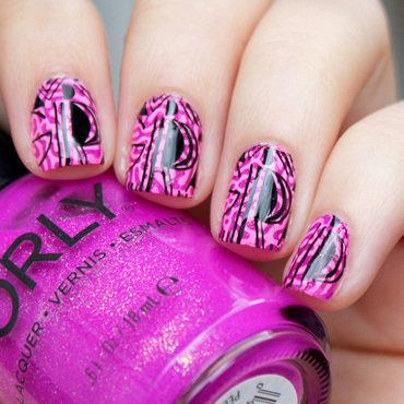 Purple and Black Pattern nail art by Moriesnailart