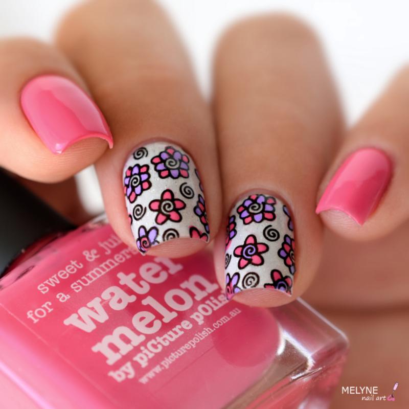 reverse stamping floral nail art by melyne nailart - Nailpolis ...