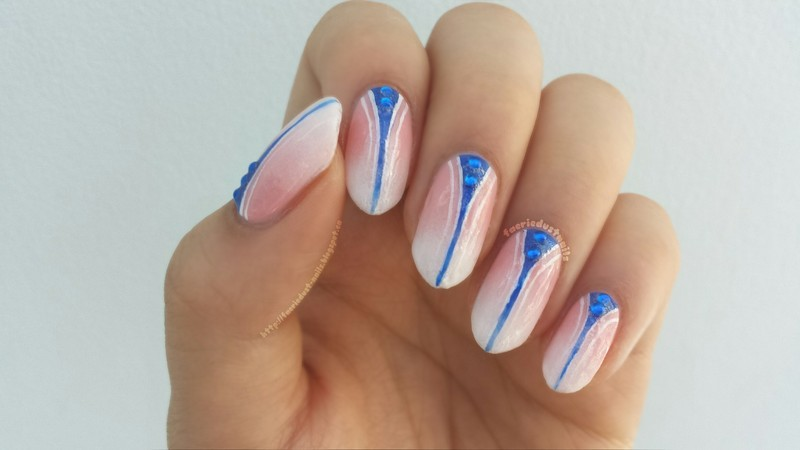 Peach Gradient with Cobalt Accent nail art by Shirley X.