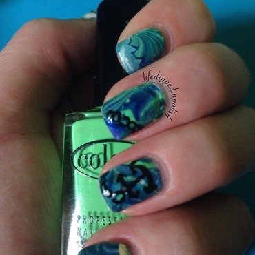 Nautical Watermarble nail art by lifedippedinpolish