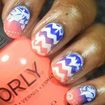 WNAC August 2015: Cobalt & Peach nail art by glamorousnails23