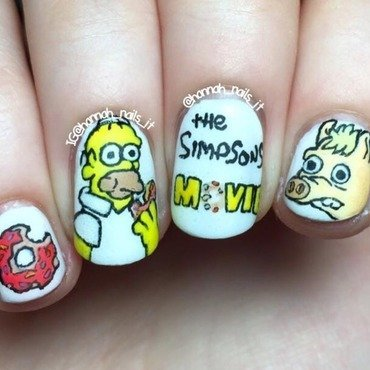 The Simpsons Movie nail art by Hannah