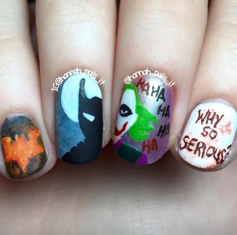 The Dark Knight nail art by Hannah