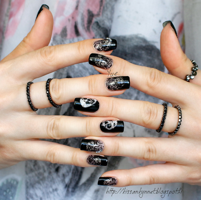 Lace skulls nail art by Yue - Lace Skulls Nail Art By Yue - Nailpolis: Museum Of Nail Art