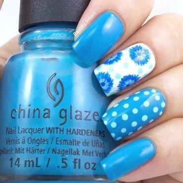 Floral polka Nails nail art by Beauty Intact