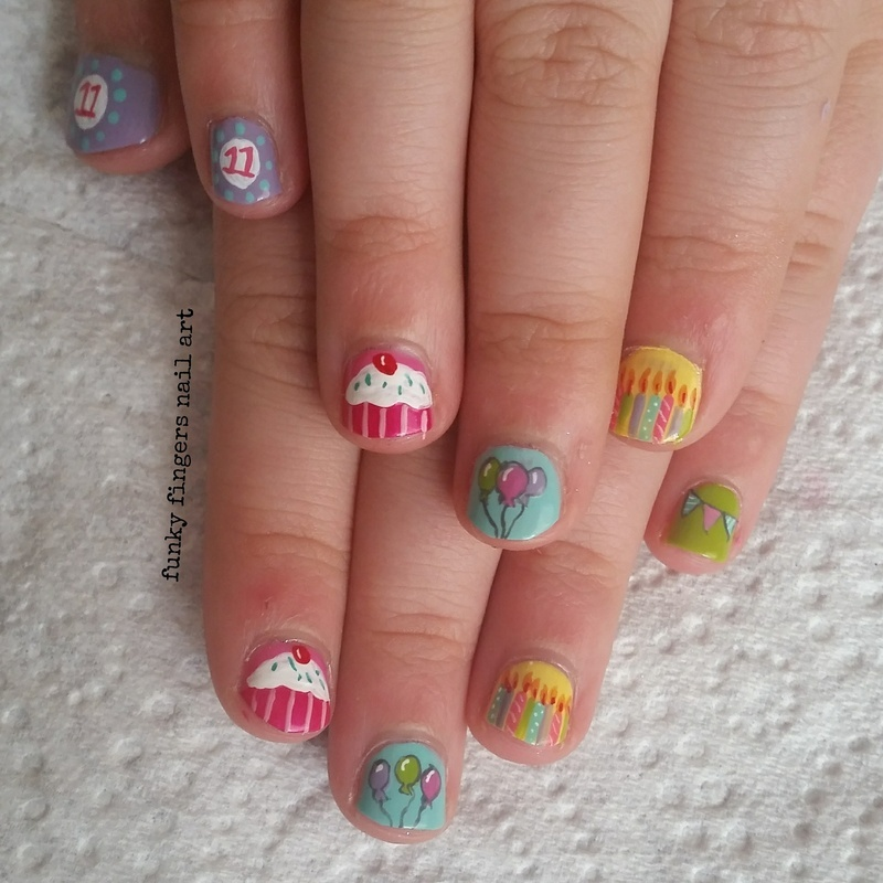 birthday nails nail art by Funky fingers nail art