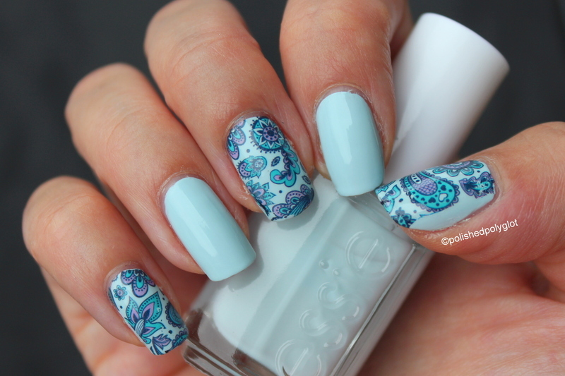 purple and turquoise paisley on baby blue  nail art by Polished Polyglot