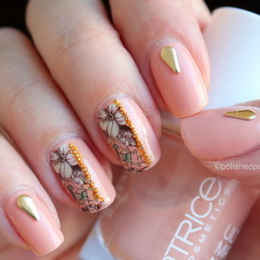 Vintage floral over nude nail art by Polished Polyglot