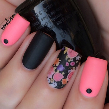 Matte/Floral nail art by Melissa