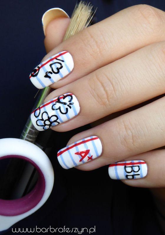 Back to school nail art by barbrafeszyn