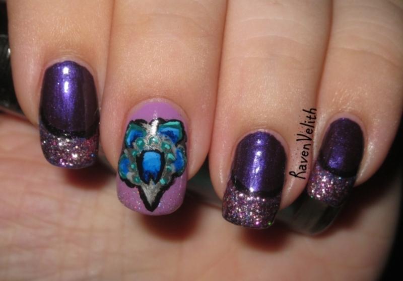 Seven Deadly Sins: Pride nail art by Lynni V.