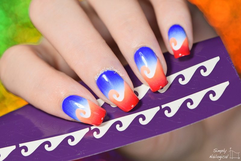 Scaled gradient waves nail art by simplynailogical