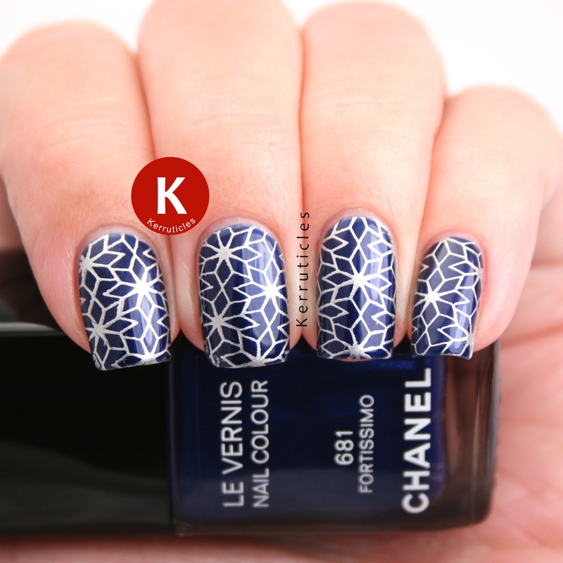 Navy blue with silver geometric stamping nail art by Claire Kerr