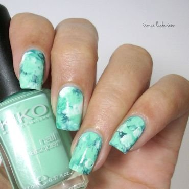 mint blue smoky nails nail art by irma
