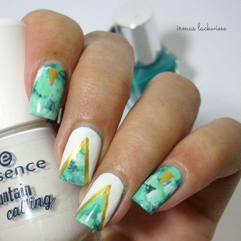 white & gld accents on smoky nails nail art by irma