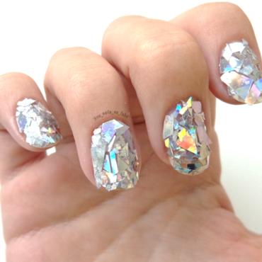 Shattered mirror nails nail art by No Nails No Fshn