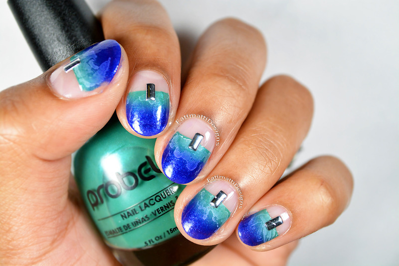 Sea Inspired Negative Space nail art by Fatimah