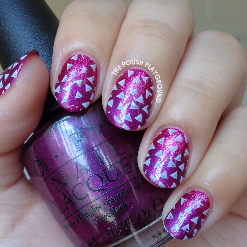 Pink and Purple Gradient with Scattered Triangles  nail art by Lisa N