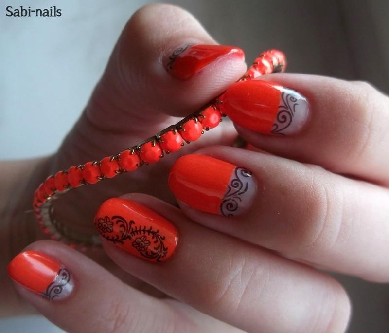 Day 2: orange nails nail art by Sabina