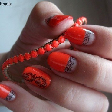 Day 2: orange nails nail art by Sabina