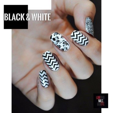 Black & White nail art by Love Nails Etc