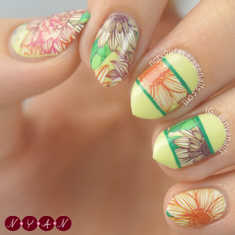 Floral Water Decals nail art by Becca (nyanails)