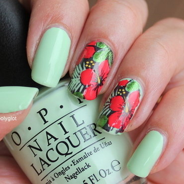 Red hibiscus on pale green nail art by Polished Polyglot