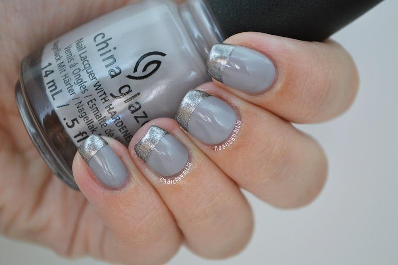 Silver tips nail art by Julia