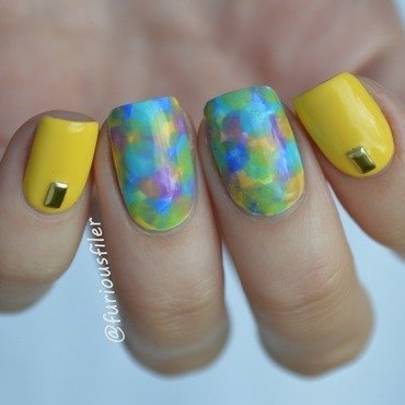 31dc2015 yellow nail art by Furious Filer