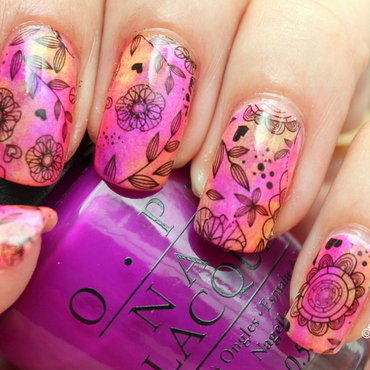 Florals over neon sponged background nail art by Polished Polyglot