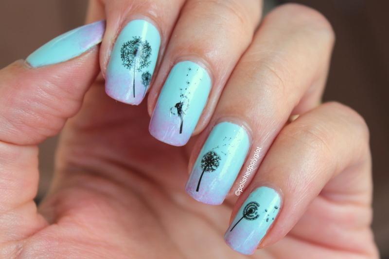 dandelions on subtle gradient nail art by Polished Polyglot