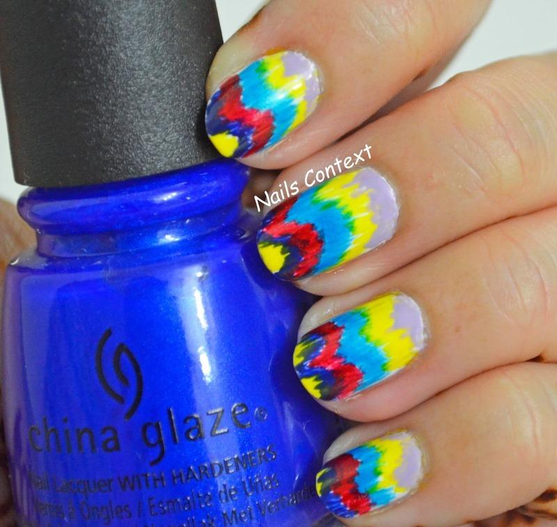Ikat Chevron  nail art by NailsContext