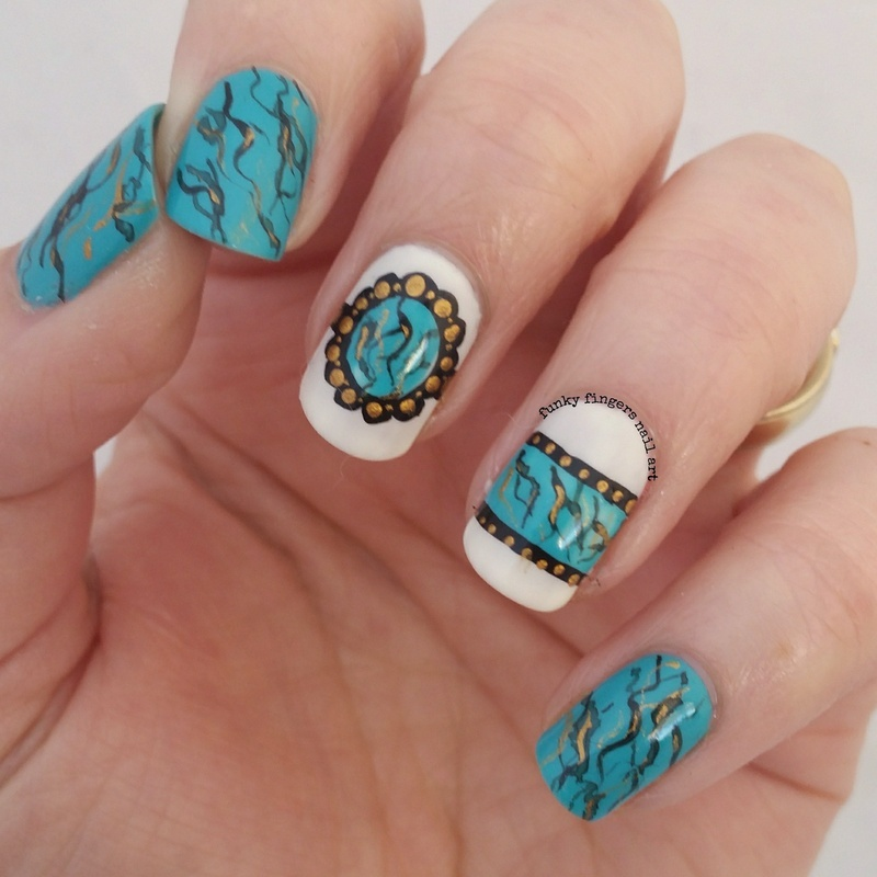 turquoise stone nails nail art by Funky fingers nail art